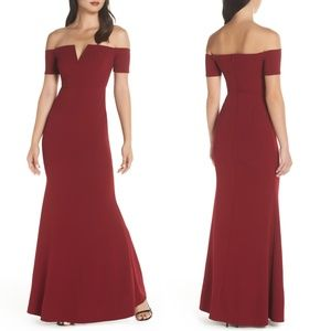 Lulu's Lynne Off the Shoulder Maxi Dress Gown Red